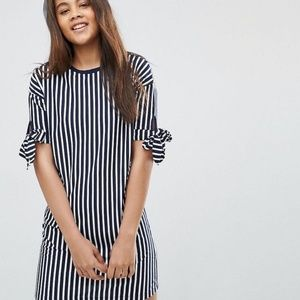 Asos navy blue and white striped tee shirt dress